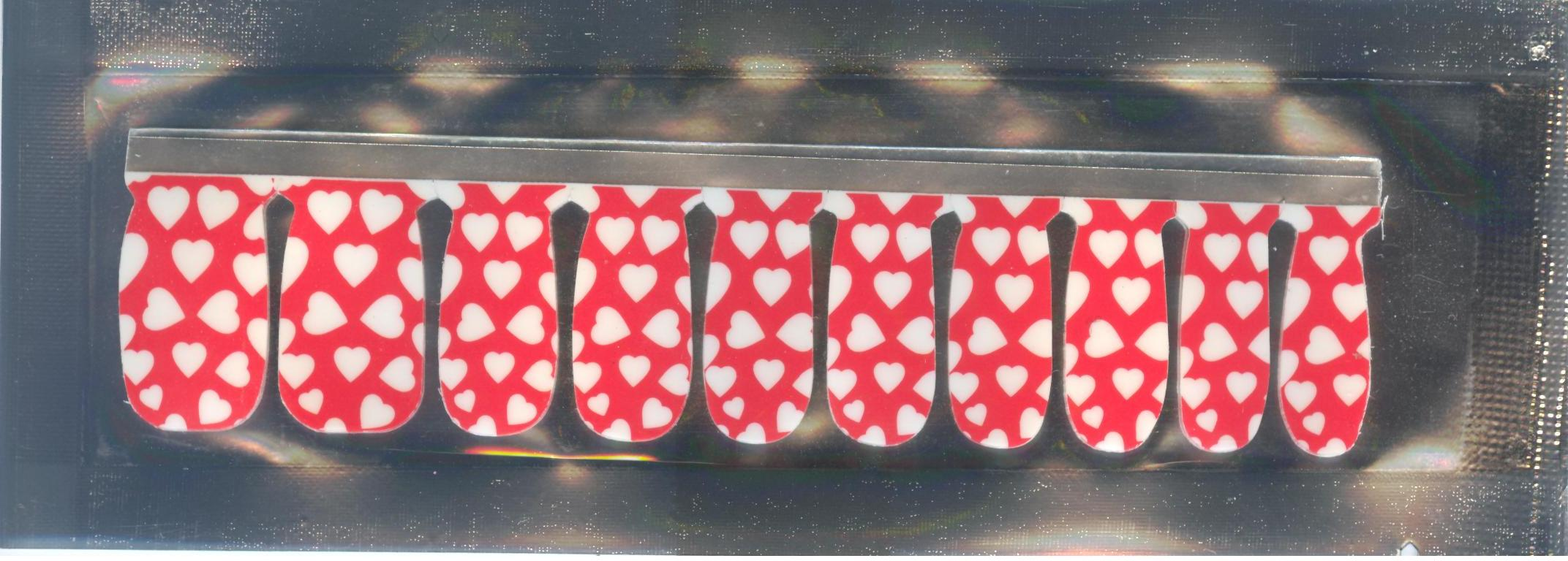 White Hearts on Red 100% Nail Polish Applique